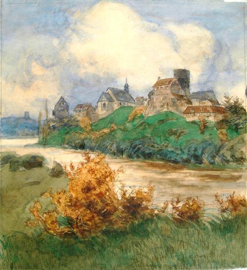 Erich Nikutowski - Ortschaft mit Turm an einem Fluß gelegen, Aquarell kopen? Bied vanaf 120!