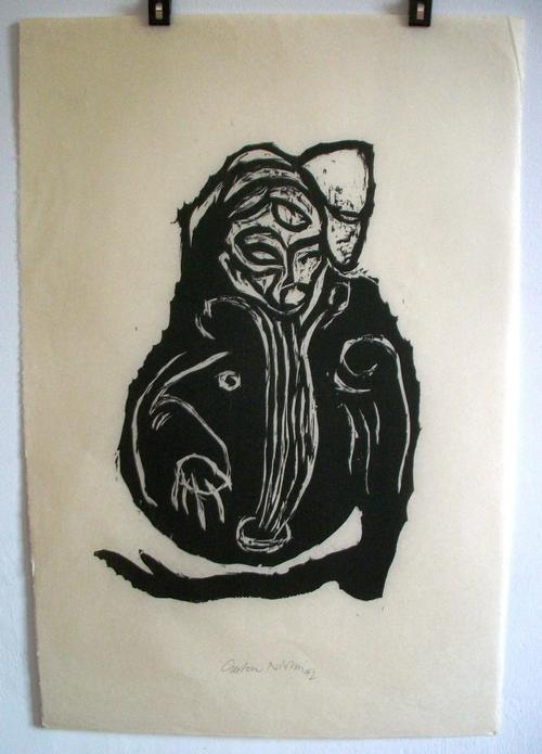 Carsten Nicolai - o.T. Im Inneren frisst das Helle das Dunkle, 1992, Holzschnitt auf dünnem Japanpapier kopen? Bied vanaf 450!