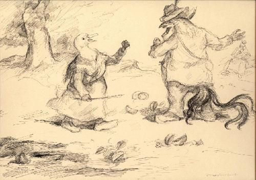 Otto Schubert - Otto Schubert Originalillustration signierte Federzeichnung Hühnchen und Hähnchen kopen? Bied vanaf 260!