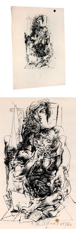 Frank Ruddigkeit - Paar, Federzeichnung 1965/70. kopen? Bied vanaf 250!