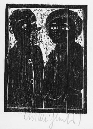 Kurt Muhlenhaupt - - PAAR - OriginalHolzschnitt des BERLINER Künstlers der Gruppe BLÜCHERSTRASSE 23- HANDsigniert 1976 kopen? Bied vanaf 35!