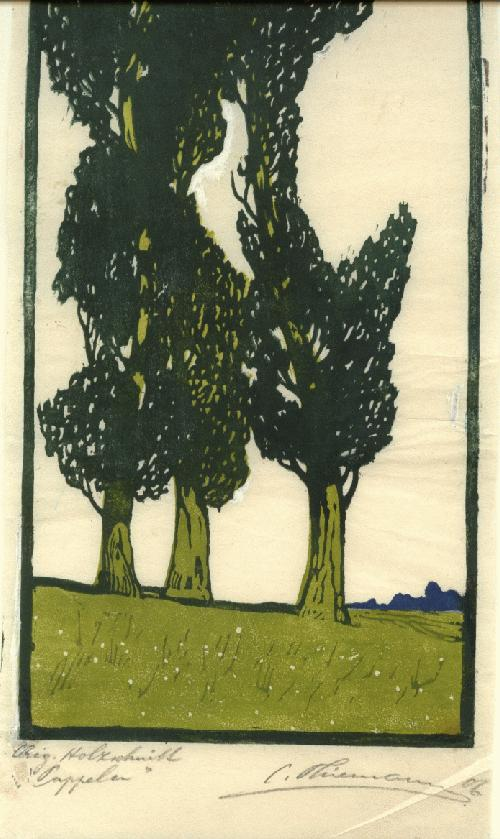 Carl Thiemann - Pappeln Signierter Holzschnitt von Carl Thiemann kopen? Bied vanaf 2300!