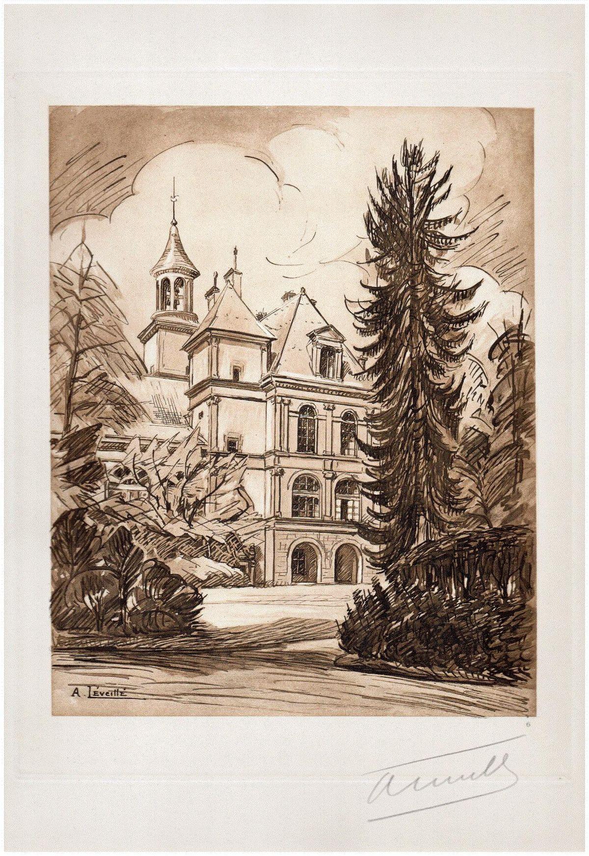 Andrèi Lèveillè - PAVILLON des AUMÔNIERS FONTAINEBLEAU 1925 Handsignierte OriginalLithographie PAVILLON der KAPLANE kopen? Bied vanaf 65!