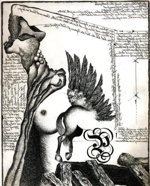 Harm Hermann Hoffmann - Pegasus, Radierung,1975 kopen? Bied vanaf 115!