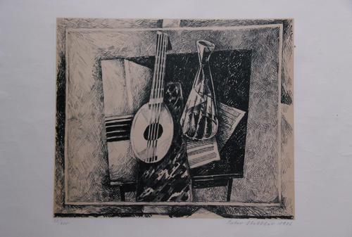 "Peter Stettler - Peter Stettler Original Lithographie ""Mandoline und Karaffe"" kopen? Bied vanaf 25!"