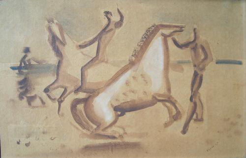 Edgar Ehses - Pferde und Reiter, Aquarell von 1947, signiert, gerahmt kopen? Bied vanaf 550!