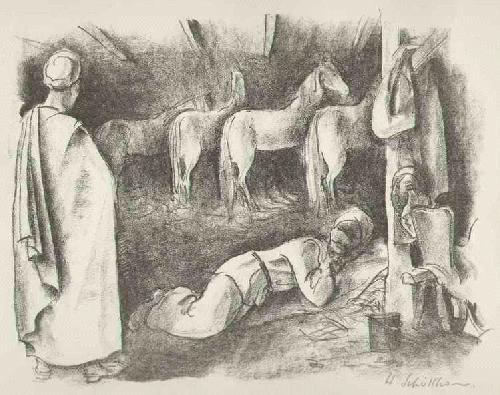 Hans Schöllhorn - PFERDESTALL im MAGREB - ARABIEN - handsignierte OriginalLithographie des SCHWEIZer Künstlers kopen? Bied vanaf 75!