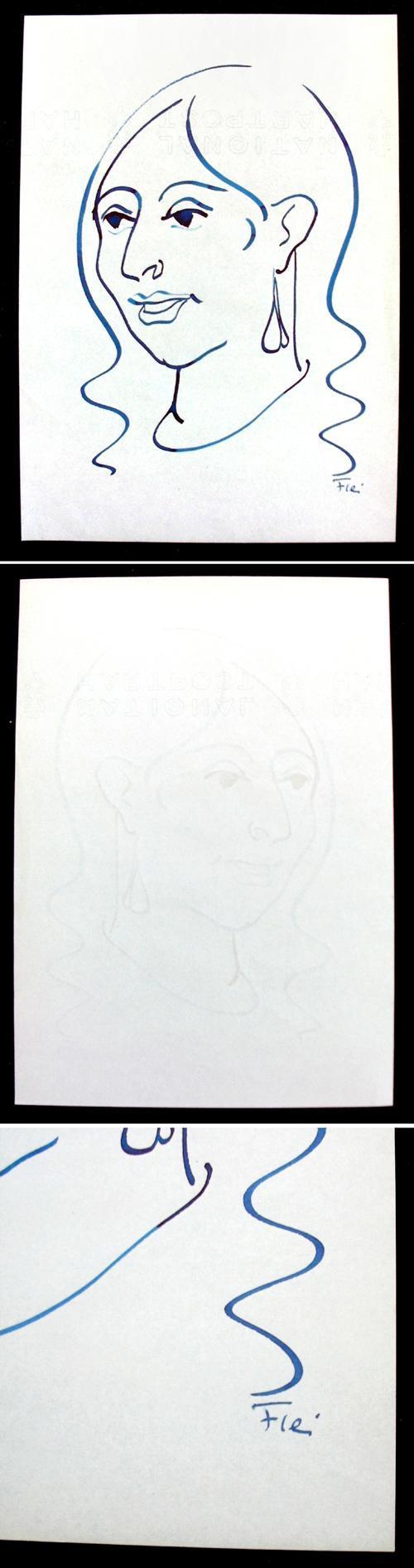 Heinz Fleischer - Porträt einer jungen Frau. Handzeichnung, um 1950-60. kopen? Bied vanaf 65!