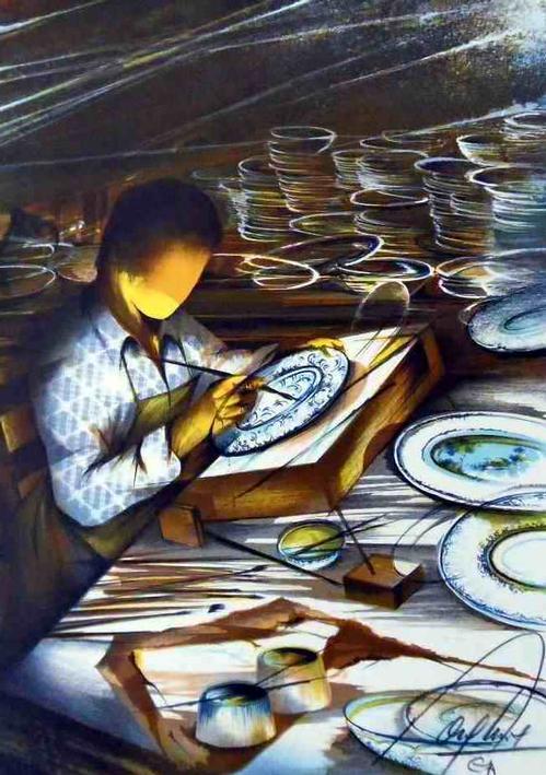 Raymond Poulet - PORZELLAN-MALER -Handsignierte OriginalFarbLithographie des PARISer Künstlers - Reihe ALTE BERUFE kopen? Bied vanaf 48!