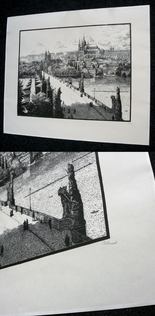 Karel Vik - Prag, Karlsbrücke. großer Holzschnitt, 1923. kopen? Bied vanaf 120!