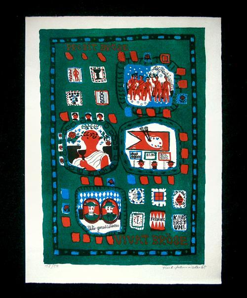 Herbert Schneider - Prosit Bröse, Vivat Bröse. Farblithographie, 1965. kopen? Bied vanaf 65!