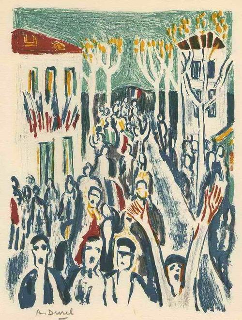 Auguste Durel - PROTEST - 1962 - Handsignierte OriginalFarbLithographie des ORIENTALISTEN aus PARIS kopen? Bied vanaf 45!
