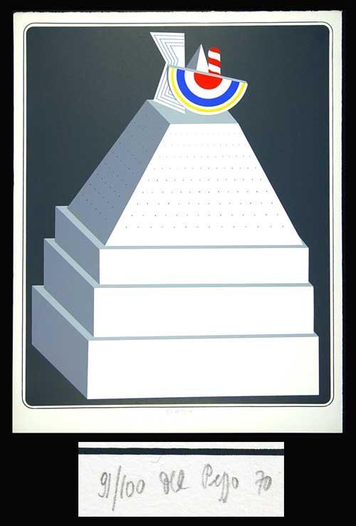Lucio del Pezzo - Pyramide - Farblithographie 1970 - handsigniert und nummeriert - 83/100 kopen? Bied vanaf 160!