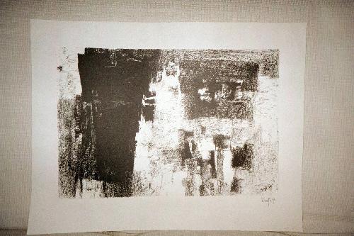 """Karl Friedrich Brust - """"Abstrakte Komposition"""", Lithografie auf Bütten, handsigniert 1959 kopen? Bied vanaf 160!"""