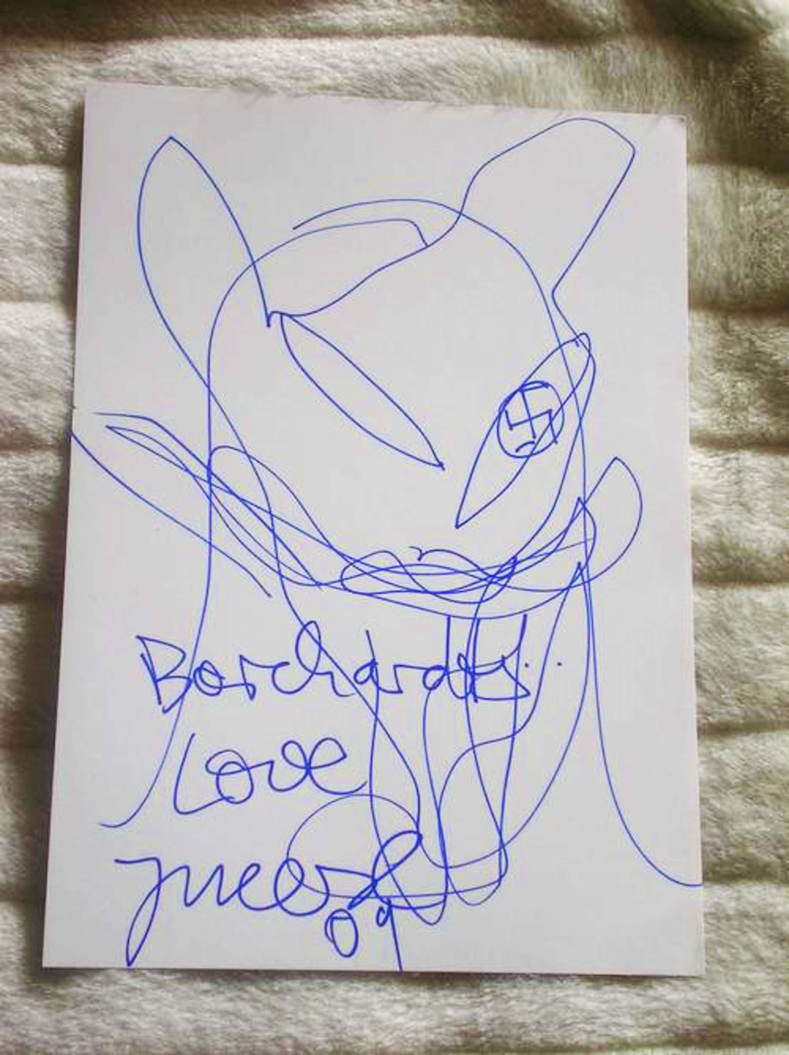 """Jonathan Meese - """"Borcharts Love"""", Orginalzeichung, handsigniert und datiert kopen? Bied vanaf 700!"""