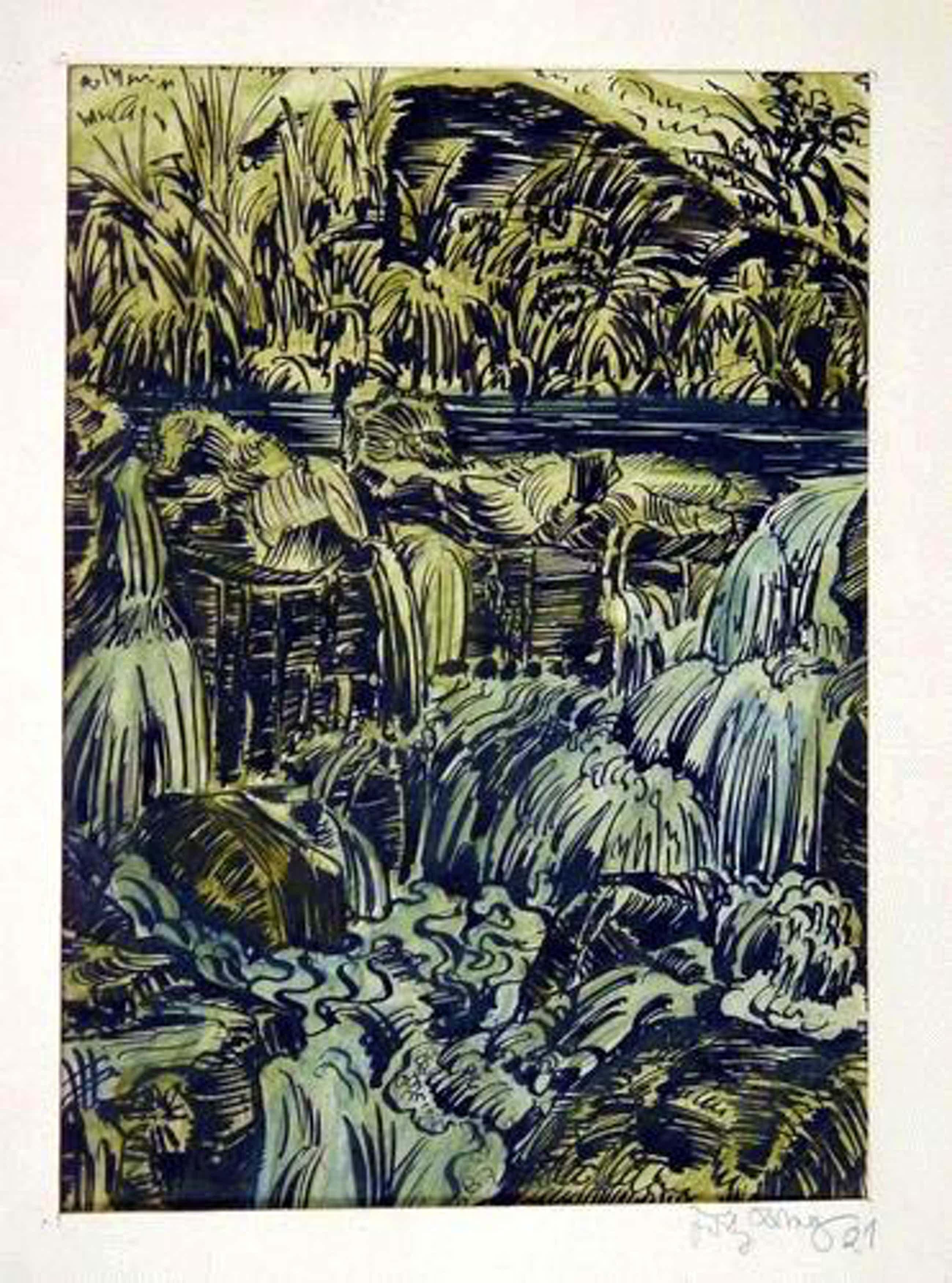 """Fritz Lang - """"Flußlandschaft"""" Tuschezeichnung aquarelliert, handsigniert, 1921 kopen? Bied vanaf 190!"""