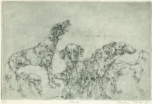 "Christian Mischke - ""Hunde"", Radierung, 1968 kopen? Bied vanaf 105!"