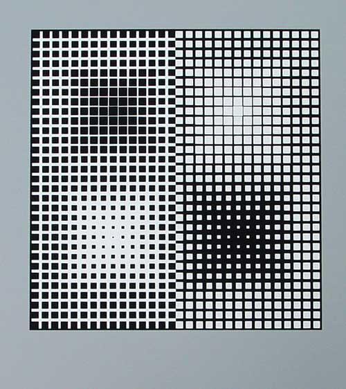 "Victor Vasarely - ""Novae"" - schwarz-weiss Serigrafie auf massivem Karton kopen? Bied vanaf 320!"