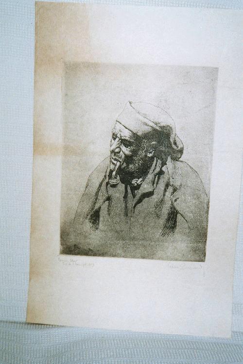 """Valère Bernard - """"Pecheur"""", Radierung, handsigniert, 1.Zustand, Nr. 3 von 3 Exemplaren kopen? Bied vanaf 160!"""
