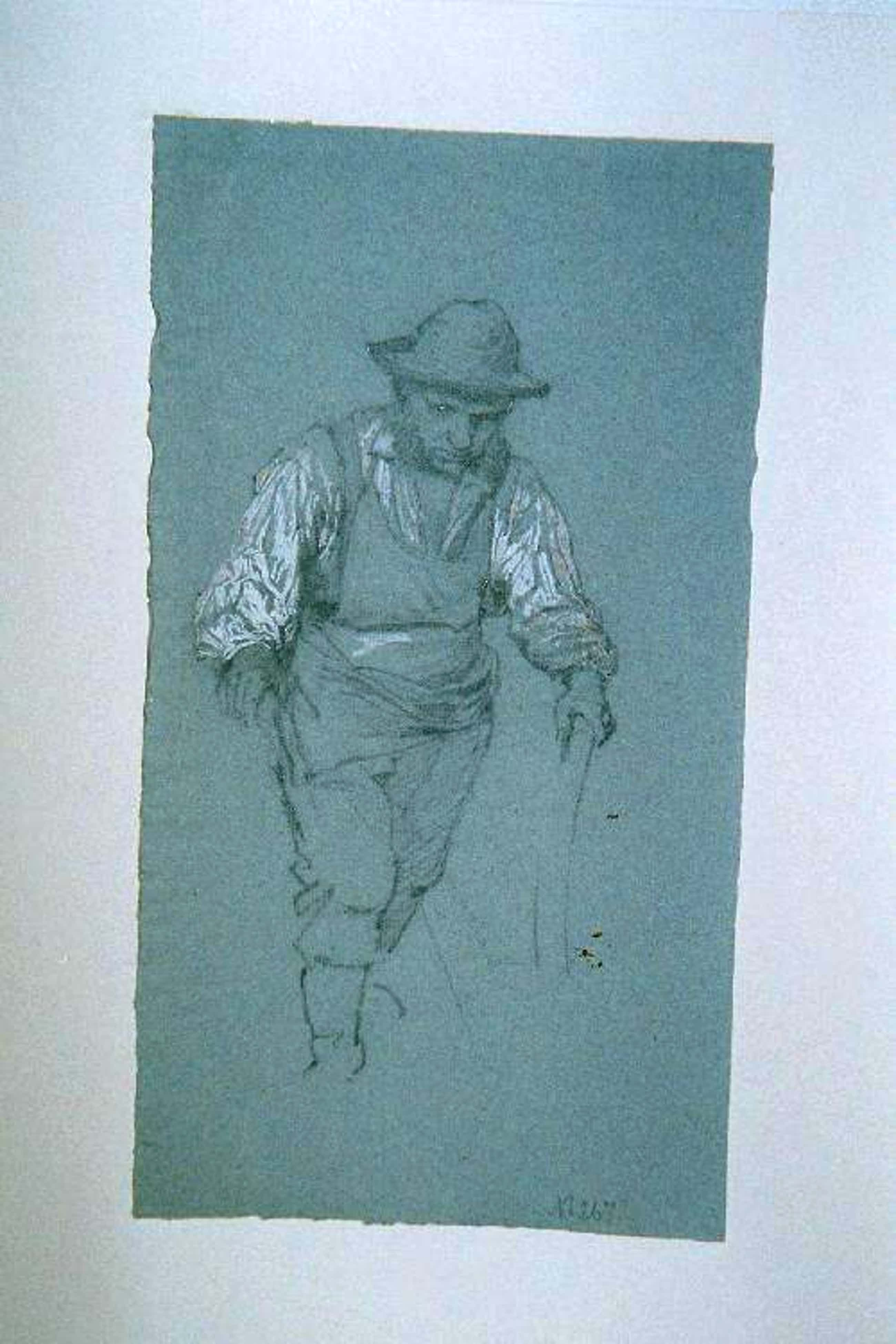 """Carl Roux - """"pflügender Bauer"""", Bleistiftzeichnung teilweise aquarelliert, Nachlaßstempel kopen? Bied vanaf 190!"""