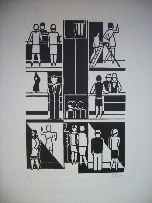 """Gerd Arntz - """"WARENHAUS"""" original Holzschnitt, 1927/73, signiert kopen? Bied vanaf 190!"""
