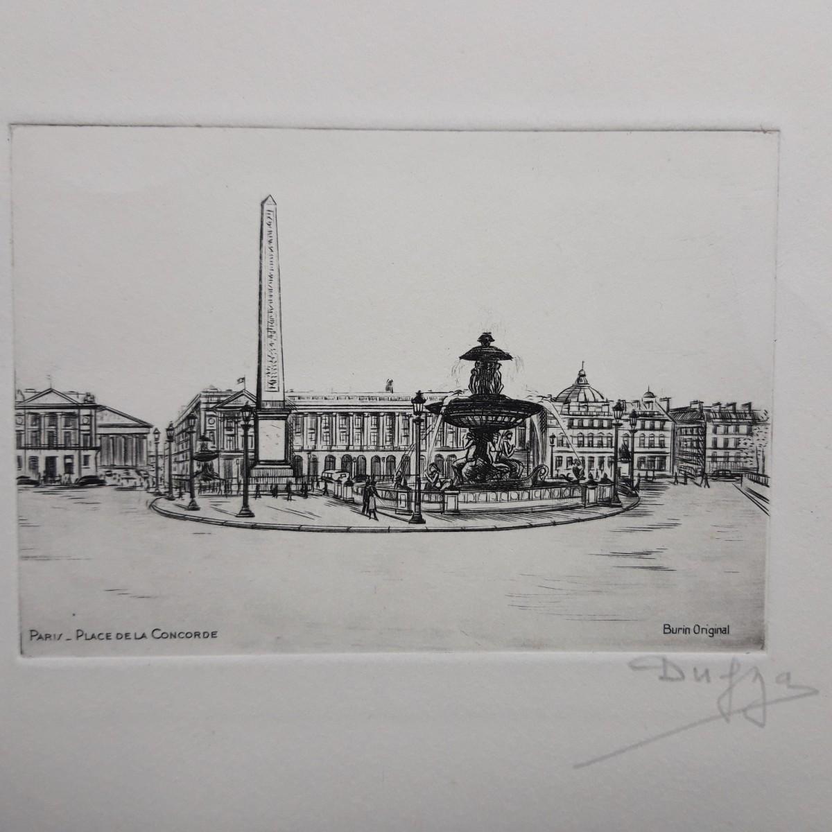 Albert Dumouchel - Radierung auf Bütten. 'Paris- Place de la Concorde' kopen? Bied vanaf 75!