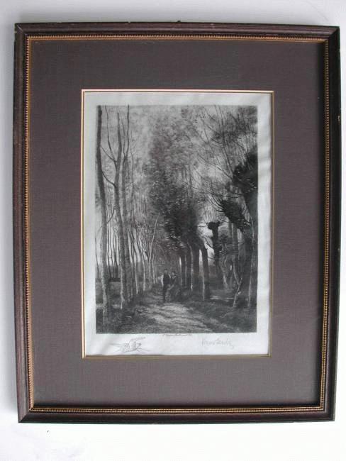 Fritz Krostewitz - Radierung Berlin 1902; Weideweg nach Corot; handsign. perfekter Rahmen kopen? Bied vanaf 45!