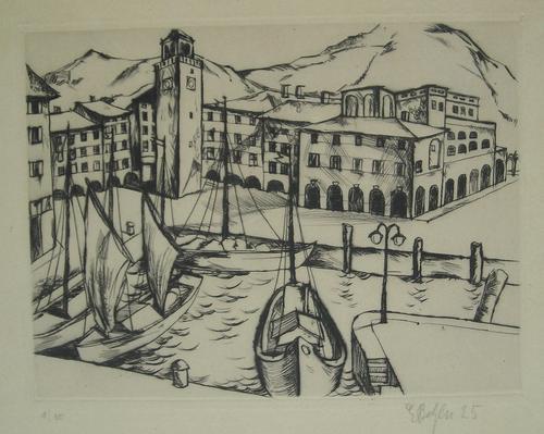 Emil Betzler - Radierung, Südliche Hafenstadt von 1925, sehr selten,1/10, handsign. kopen? Bied vanaf 280!