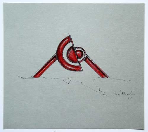 Wolfgang Göddertz - Raumverknotung 10 - handkolorierte Lithographie aus dem Jahr 1987 - handsigniert kopen? Bied vanaf 50!