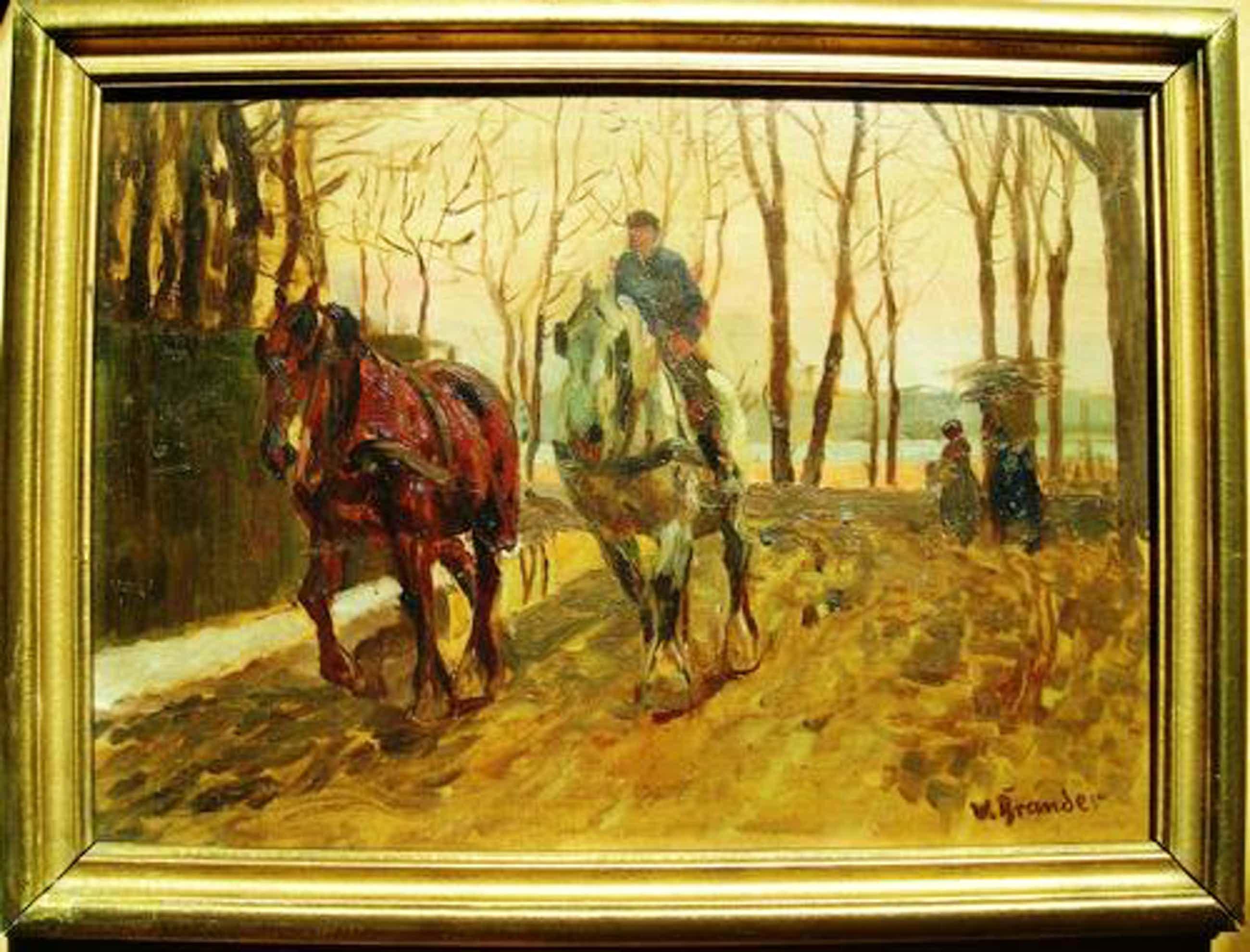 Willy Brandes - Reiter mit 2 Pferden, Ölgemälde kopen? Bied vanaf 330!