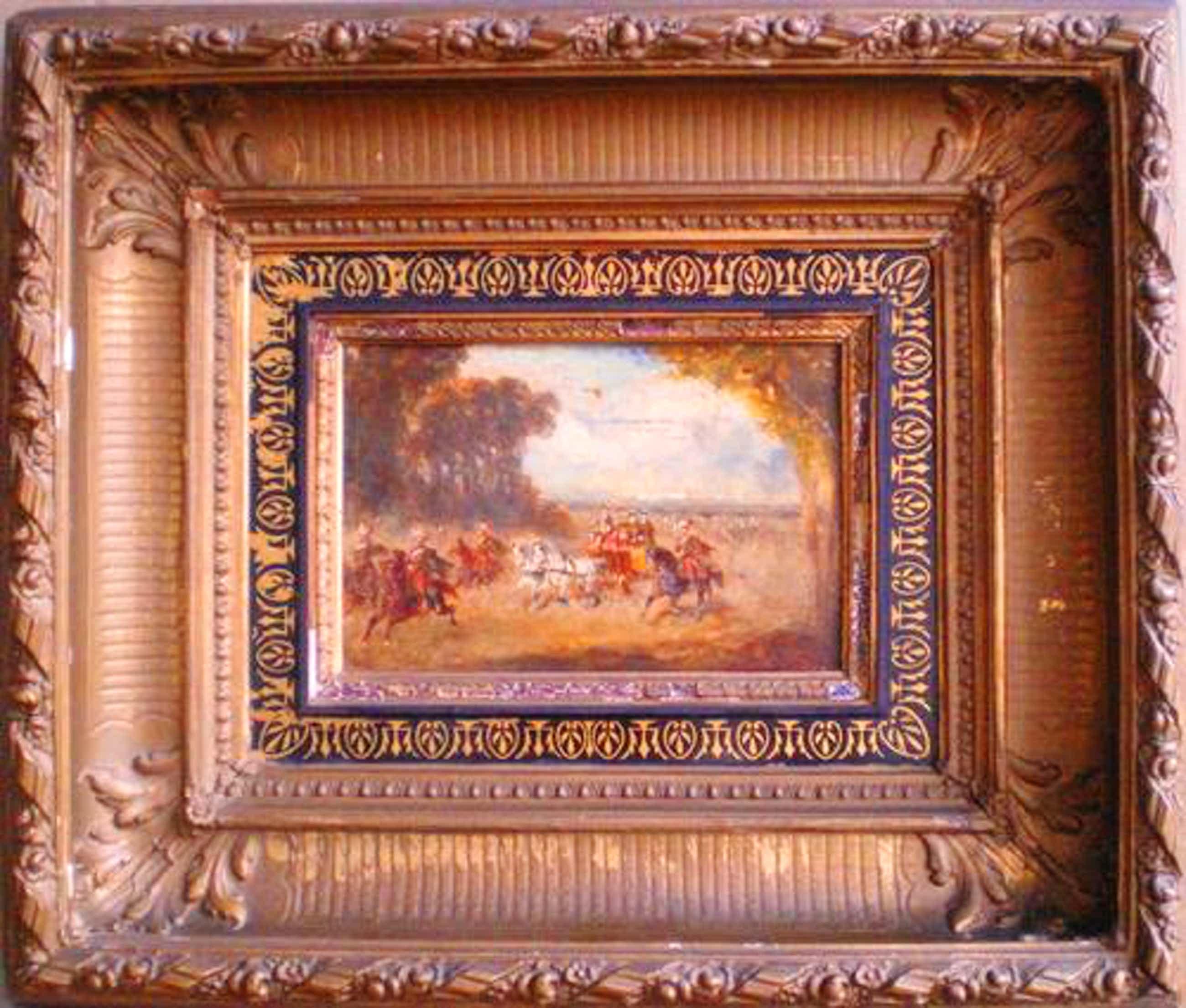 Charles Rochussen - Reiterhusaren begleiten Prunkkutsche mit Lakaien kopen? Bied vanaf 1730!