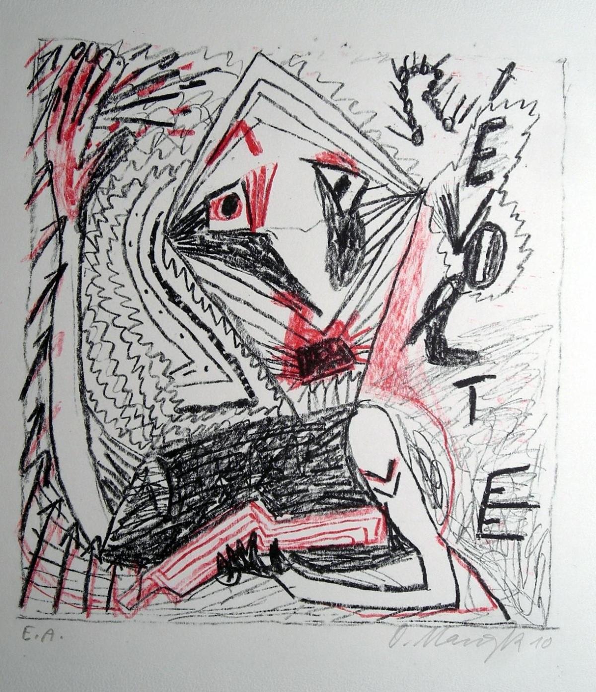 Oskar manigk - Revolte, Lithografie 2010 kopen? Bied vanaf 52!