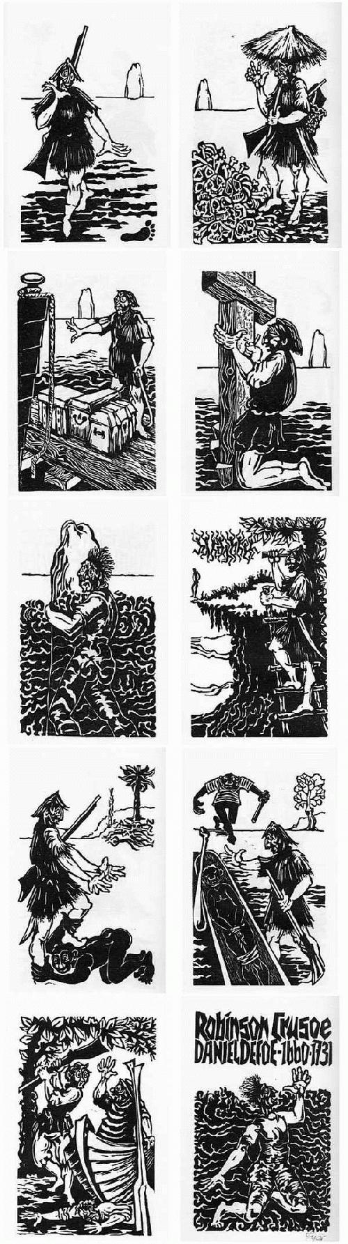 Hermet Ripè - ROBINSON CRUSOE - 10 OriginalLinolschnitte des Peter KOWALSKI-Schülers a.BRESLAU - handsigniert 1977 kopen? Bied vanaf 32!