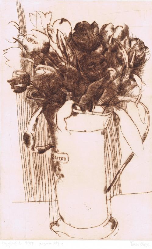 Tony Torrilhon - Rote Tulpen im 2 L-Topf, Kupferstich 1983 kopen? Bied vanaf 105!