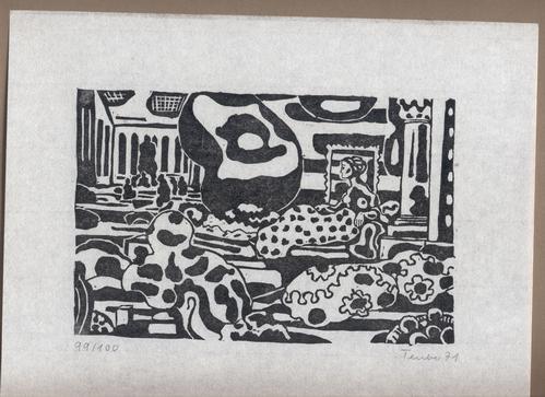 Gottfried Teuber - Ruhende Dame - Linolschnitt - 1971 kopen? Bied vanaf 45!