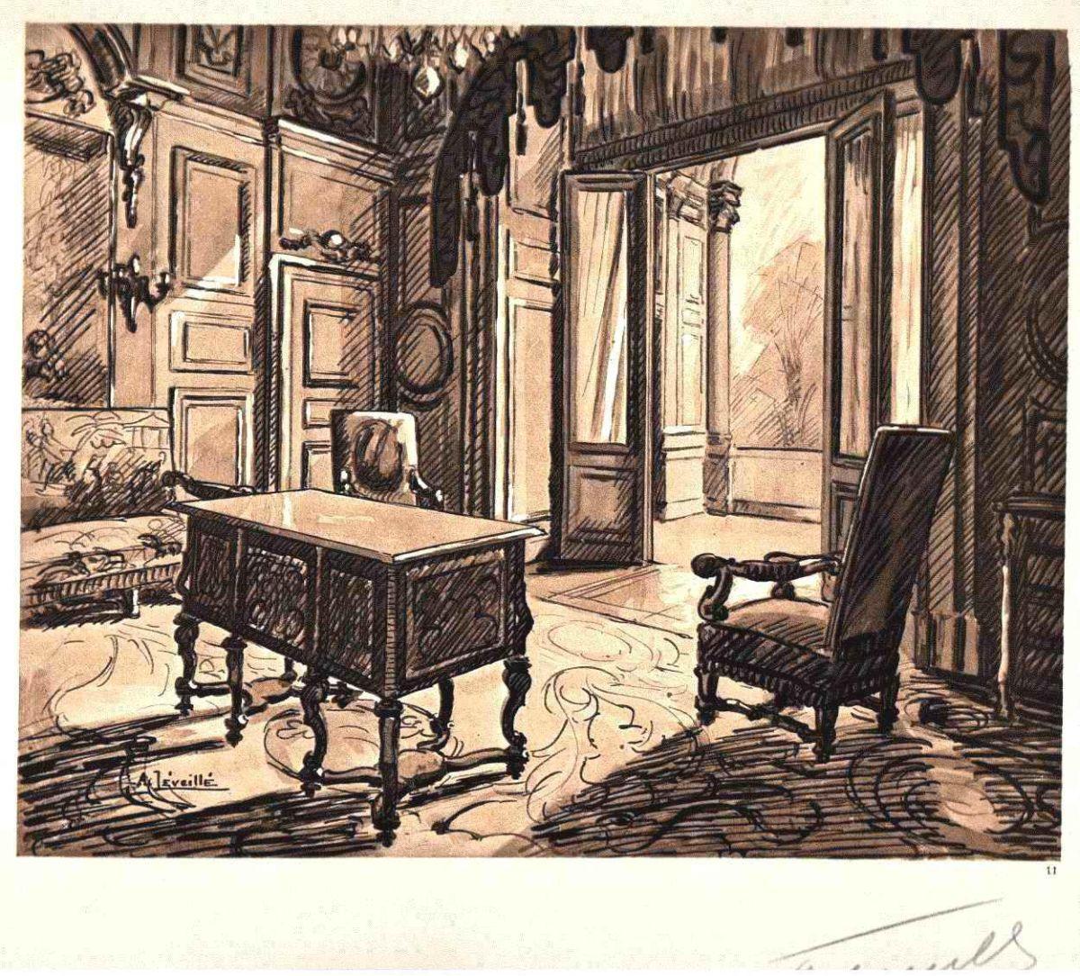Andrèi Lèveillè - SALON der MADAME de MAINTENON 1925 FONTAINEBLEAU Handsignierte OriginalLithographie kopen? Bied vanaf 65!