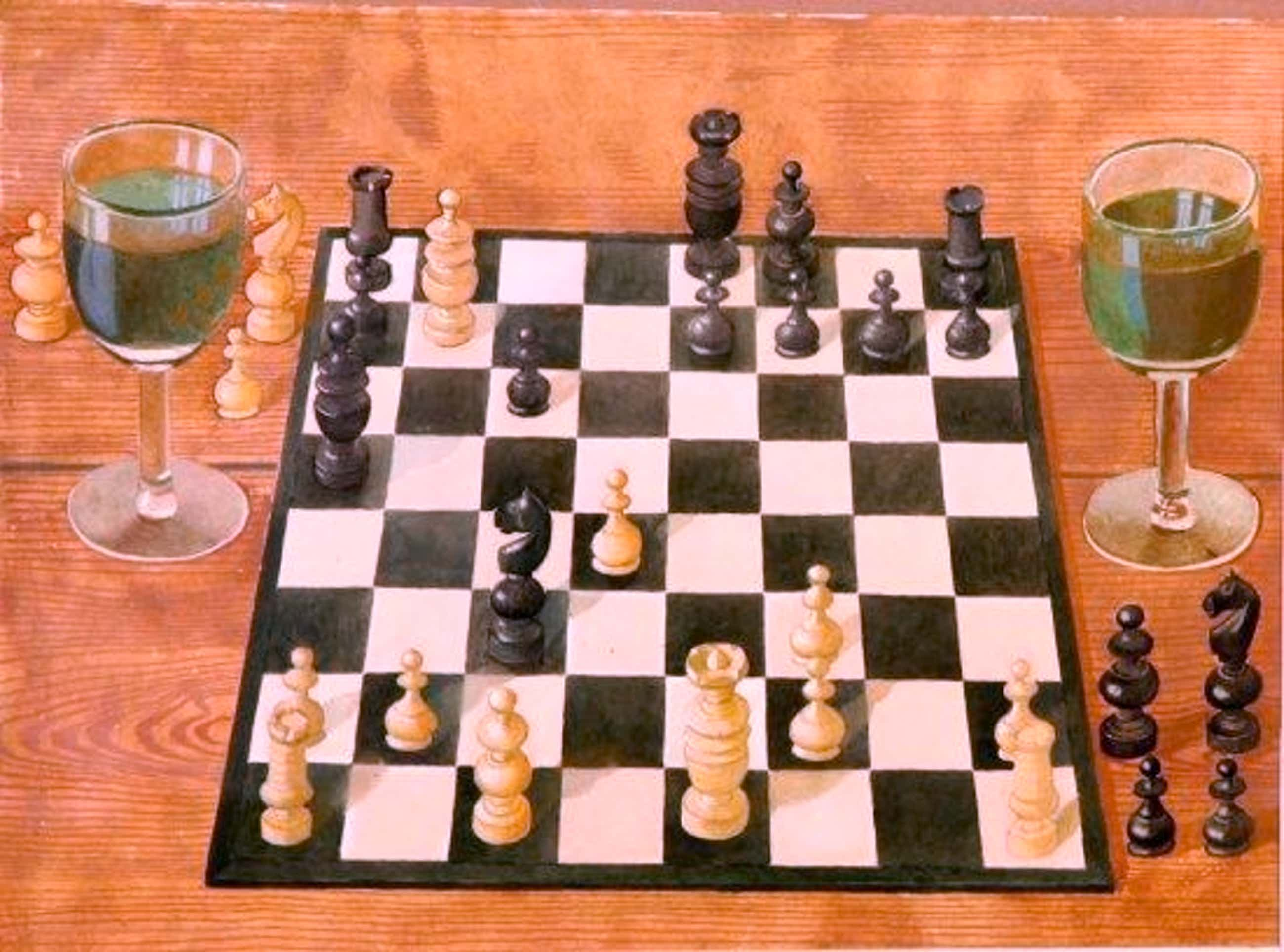 Bernhard Dörries - Schachspiel mit zwei Weingläsern kopen? Bied vanaf 770!