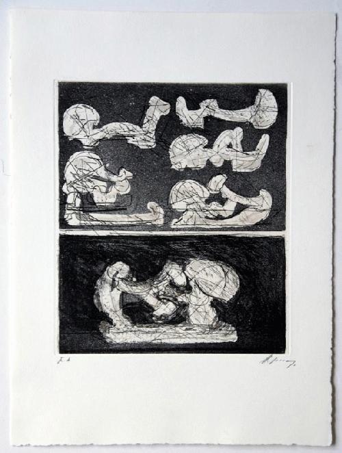 Rudolf Hoflehner - - SECHS SKIZZEN - Radierung auf Büttenpapier, handsigniert, bezeichnet, 1966 kopen? Bied vanaf 390!