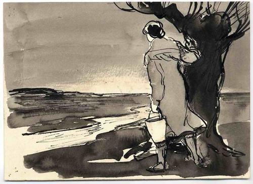 Erich Behrendt - SEHNSUCHT - OriginalTusche/Federzeichnung des OSTPREUSSISCHEN ILLUSTRATOREN aus FRANKEN 1968 kopen? Bied vanaf 120!