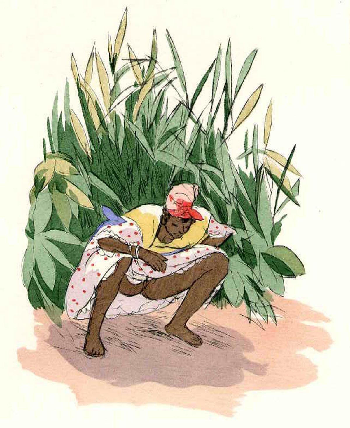 Charles Auguste Edelmann - SICH ERLEICHTERNDE CREOLIN - Die Heissen Nächte im Cap 1936 - Handcolorierte OriginalRadierung kopen? Bied vanaf 79!