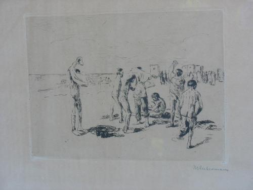 Max Liebermann - signierte Originalradierung -Badende Jungen- v. 1908 im original Rahmen kopen? Bied vanaf 450!
