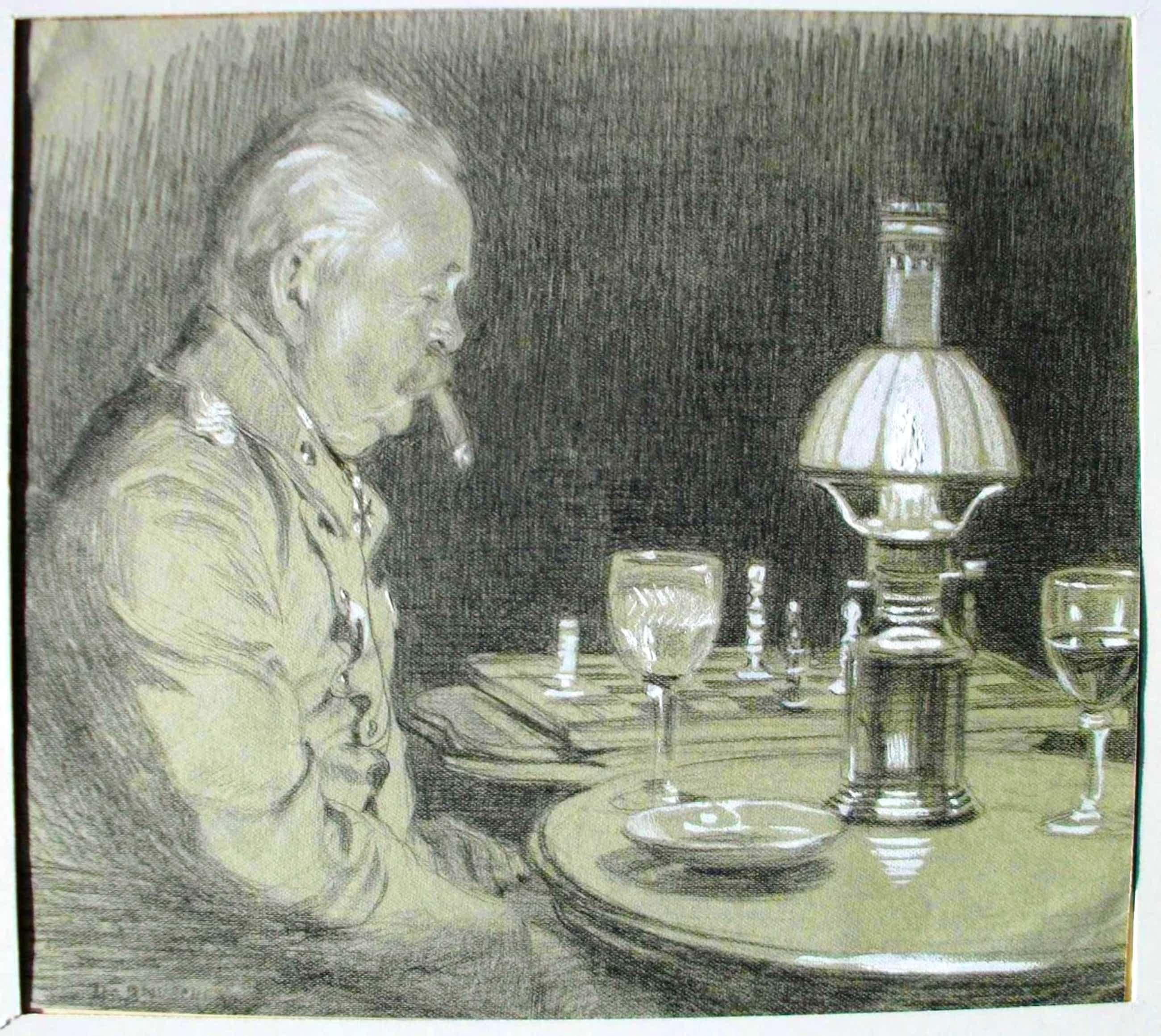 Hans Baluschek - Sitzender Mann am Tisch. Kohle weiß gehöht auf Papier kopen? Bied vanaf 2200!