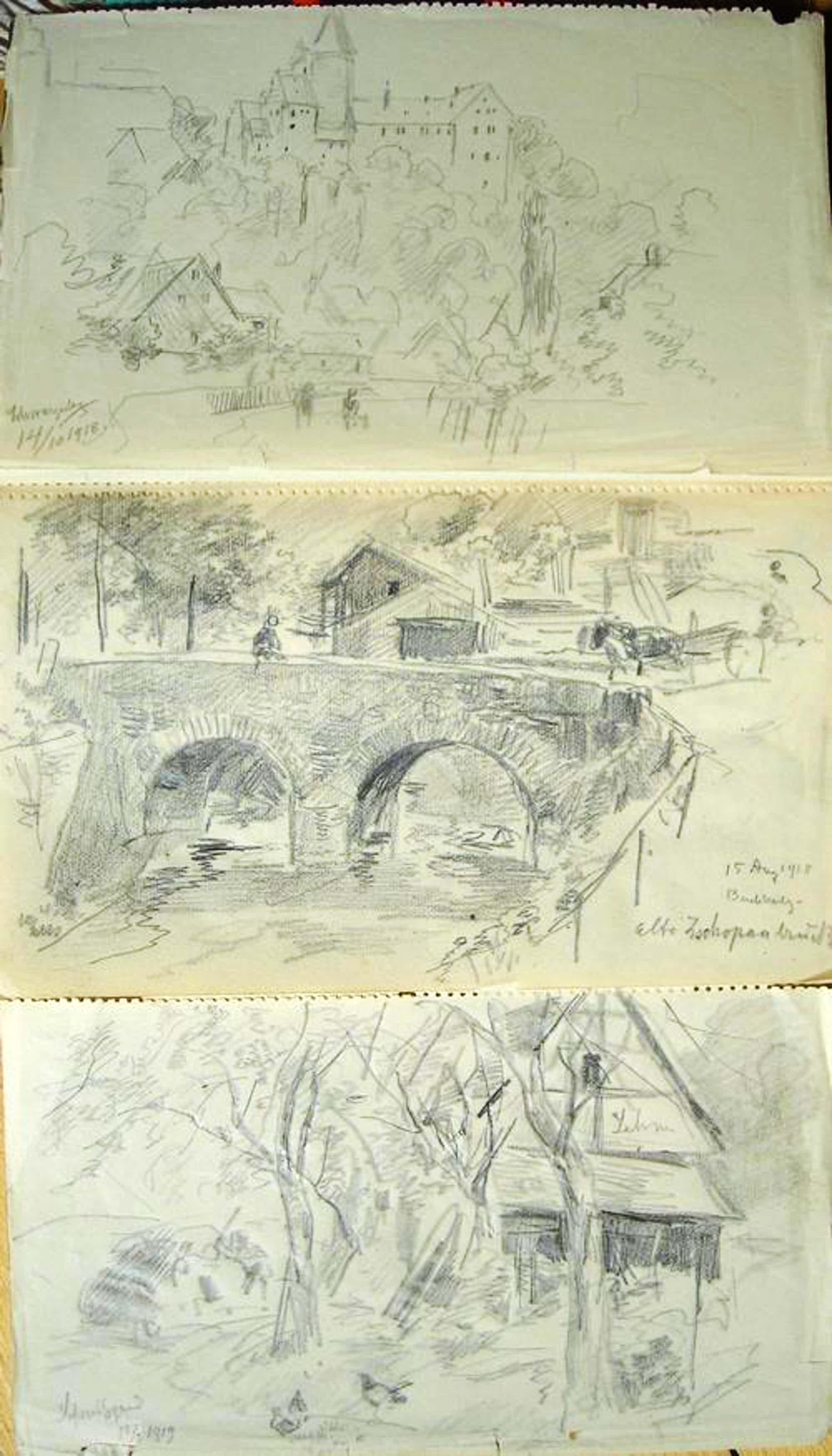 Albert Ernst Mühlig - Skizzenblock mit 46 Skizzen aus Sachsen, häufig Ortsbezeichnet und datiert 1918 oder 1919 kopen? Bied vanaf 560!