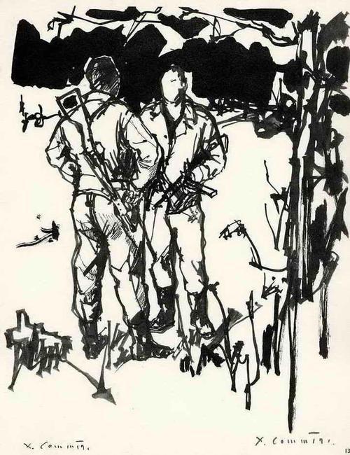 Jean Commëre - SOLDATESCA - Handsignierte Druckgraphik des engagierte Künstlers aus PARIS (Suizid 1986 ANGER) kopen? Bied vanaf 35!