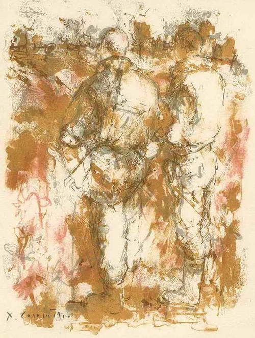 Jean Commëre - SOLDATESCA - Handsignierte OriginalLithographie des engagierte Künstlers a.PARIS (Suizid 1986 ANGER) kopen? Bied vanaf 45!