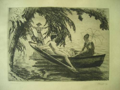 Wilhelm Hempfing - Sommerlust, Junge Frauen im Boot. Radierung kopen? Bied vanaf 320!