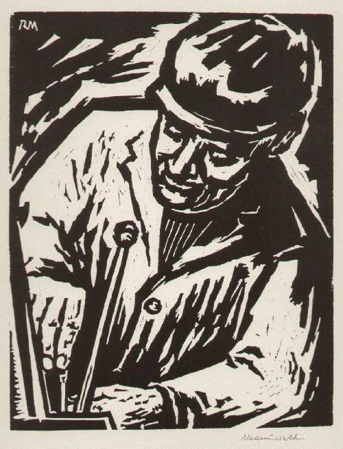 Rudolf Manuwald - SOZIALISTISCHER REALISMUS - 1965 - Handsignierter OriginalHolzschnitt - Der MASCHINIST kopen? Bied vanaf 52!