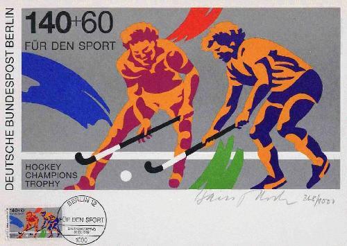 Hans Peter Hoch - SPORT: FELDHOCKEY 1989 - v. Künstler a.Baltmannsweiler/ESSLINGEN handsigniert 1989 mit O-Briefmarke kopen? Bied vanaf 28!