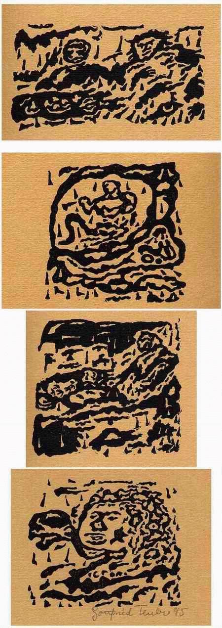 Gottfried Teuber - - SPRÜCHE der BIBEL - 4OriginalLinolschnitte des SEEWALD-Schülers aus BRAUNAU-BÖHMEN - 1995 signiert kopen? Bied vanaf 35!