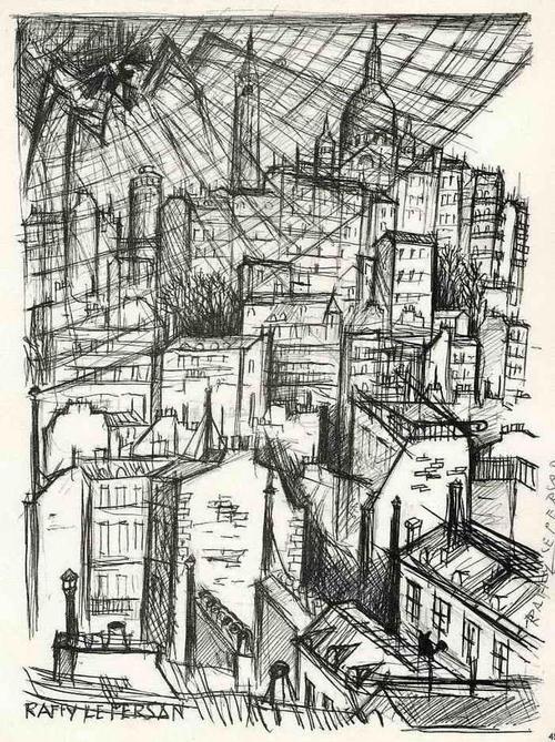 Jean Raffy Le Persan - STADT im SPINNENNETZ - Handsignierte Druckgraphik 1963 (Prix de la Critique) kopen? Bied vanaf 35!